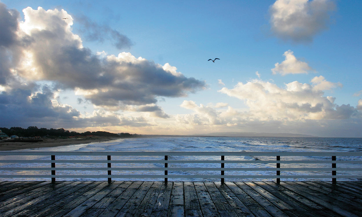 Pismo Beach pier with ocean, flying seagull, and dramatic clouds in sky