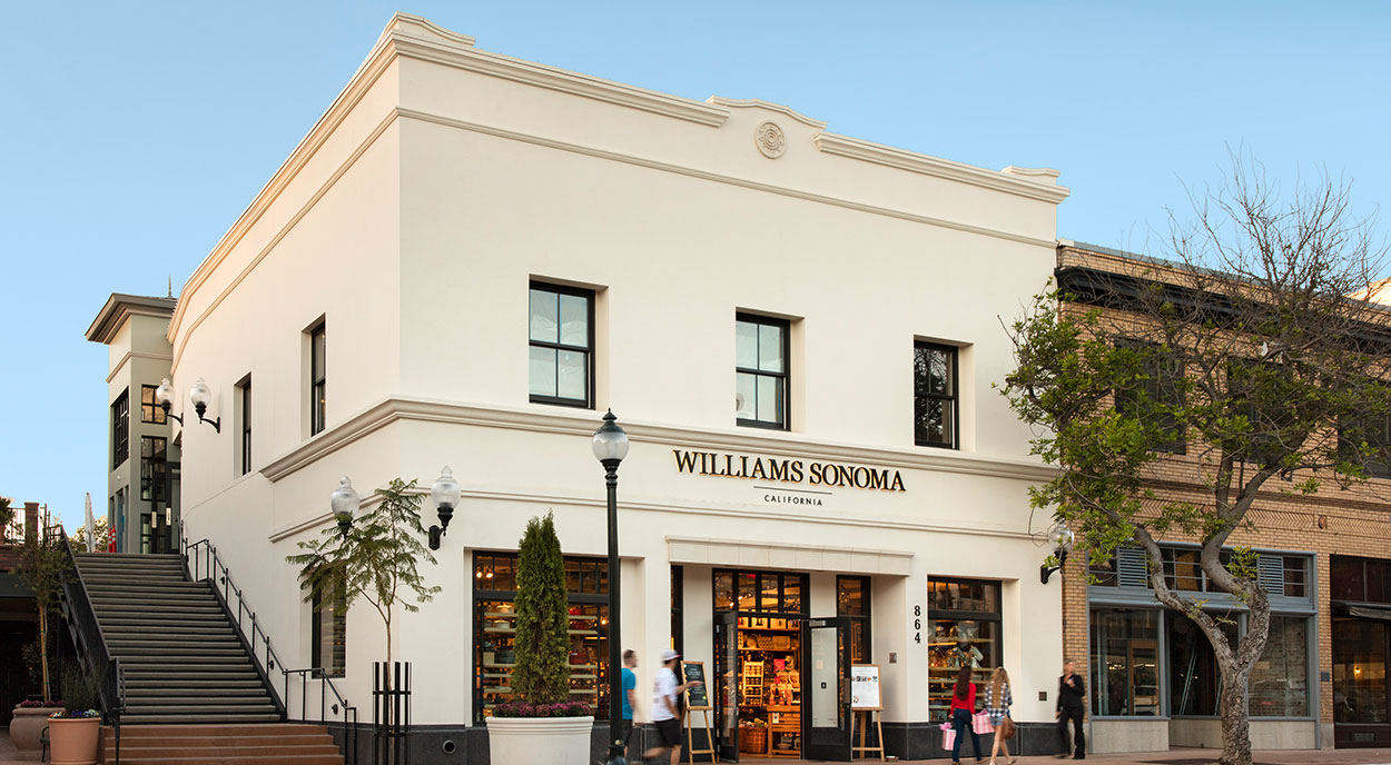Williams Sonoma storefront with pedestrians on sidewalk