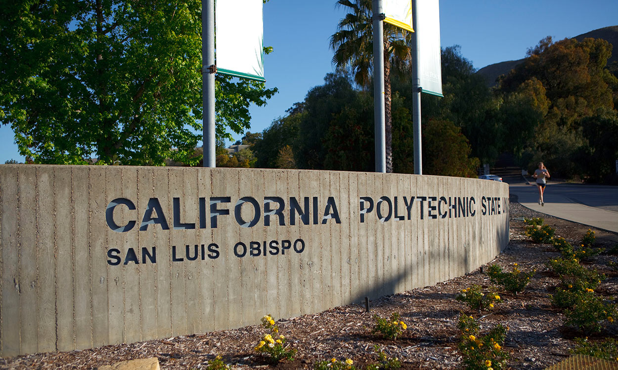 California Polytechnic State University San Luis Obispo main entrance monument sign